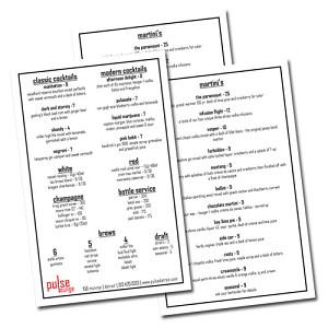 8.5x5.5 Full Color Restaurant Menus on 12pt C2S