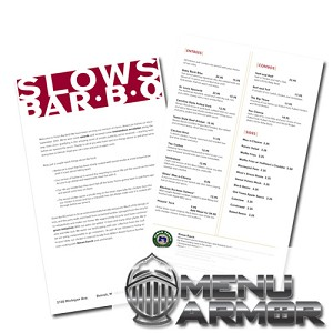 Waterproof Menu Printing (Menu Armor)